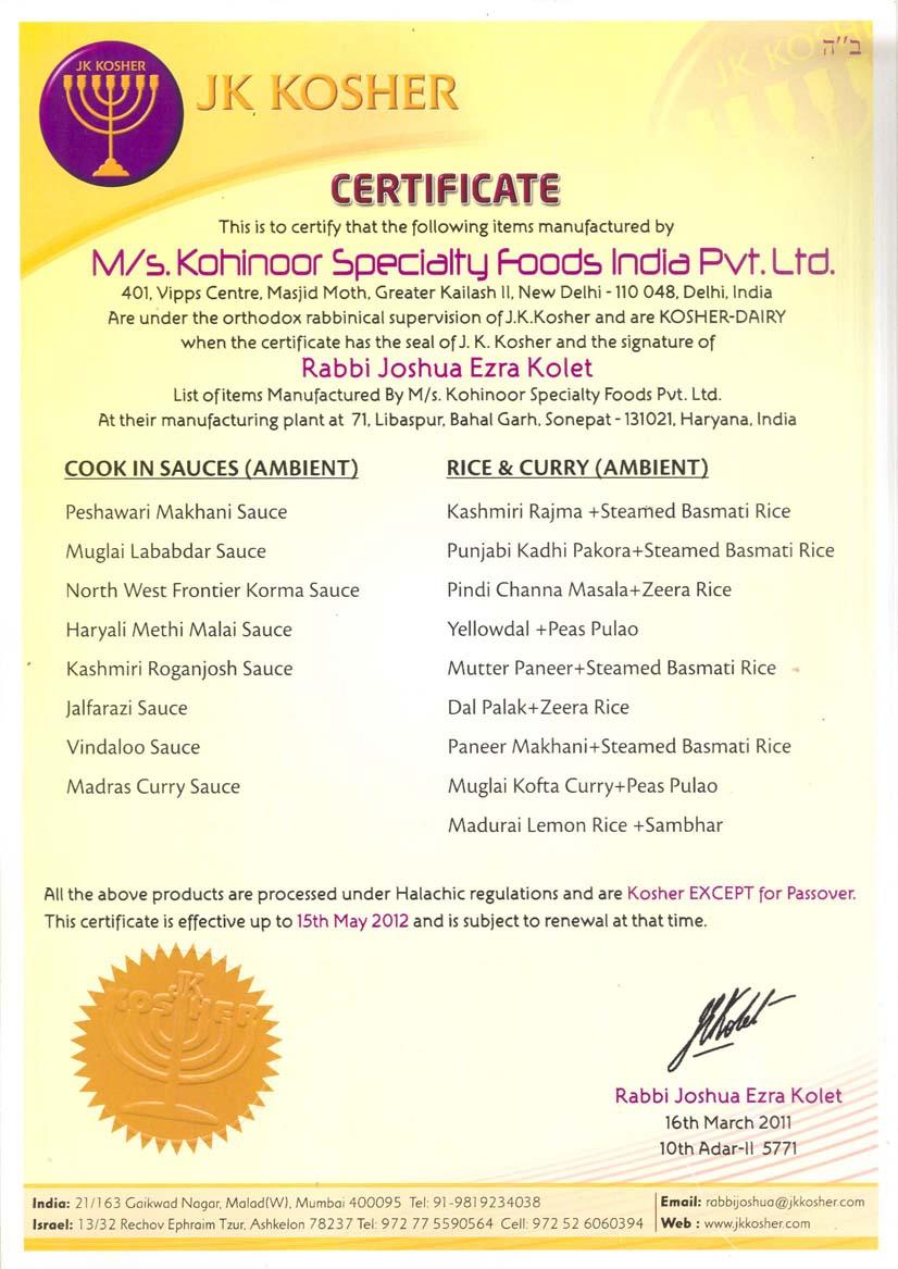 Kosher Inspection Services India Kosher India Kosher Food India